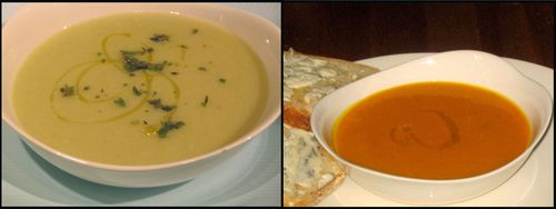 cauliflower leek soup and truffled winter squash soup