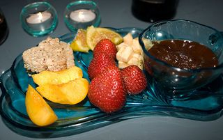 chocolate fondue with shortbread and fruit
